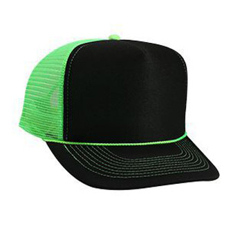 Otto Neon Polyester Foam Front High Crown Golf Style Mesh Back Caps