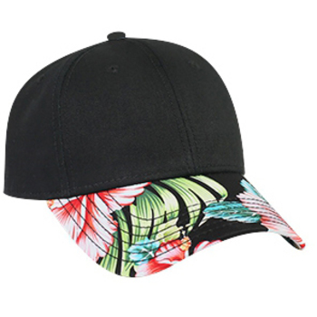 Otto Superior Cotton Twill With Hawaiian Pattern Visor Low Profile Style Caps