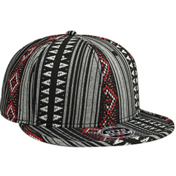 Otto Aztec Pattern Polyester Jacquard Flat Visor With Binding Trim Pro Style Snapback Caps