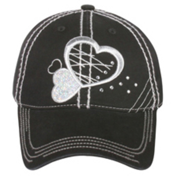 Otto 3D Metallic Heart Design With Rhinestones Caps