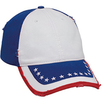 Otto Us Flag Pattern Distressed Superior Garment Washed Cotton Twill Low Profile Style Caps