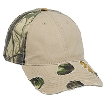 Otto Camouflage Superior Garment Washed Cotton Twill Distressed Visor Low Profile Style Caps