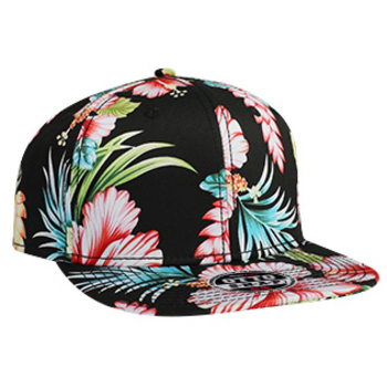 Otto Cotton Twill Hawaiian Pattern Square Flat Visor Pro Style Snapback Caps