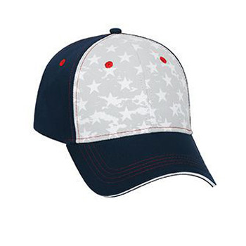 Otto Star Pattern Cotton Twill Sandwich Visor With Contrast Stitching Low Profile Style Caps