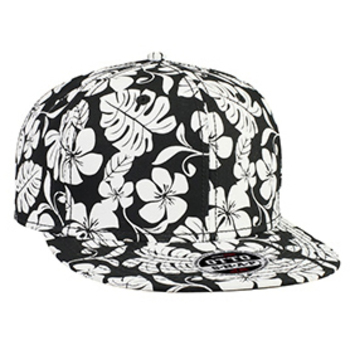 Otto Superior Cotton Twill Hawaiian Pattern Flat Visor Pro Style Snapback Caps