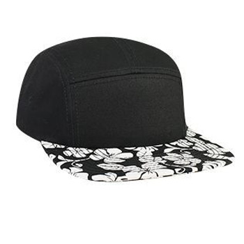 Otto Superior Cotton Twill With Hawaiian Pattern Square Flat Visor Camper Style Caps