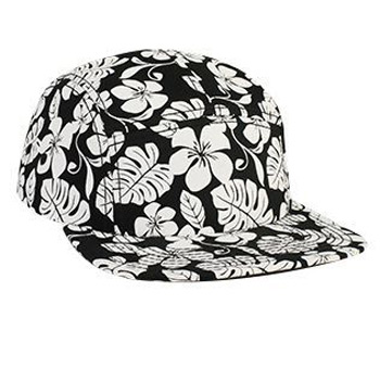 Otto Hawaiian Pattern Superior Cotton Twill Square Flat Visor Five Panel Camper Style Caps