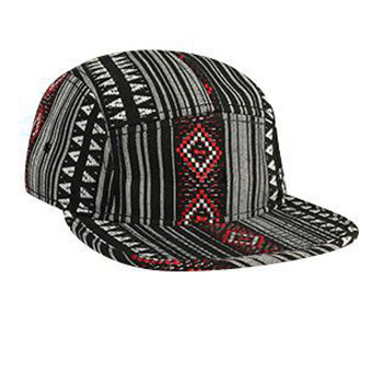Otto Aztec Pattern Polyester Jacquard Square Flat Visor With Binding Trim Five Panel Camper Style Caps