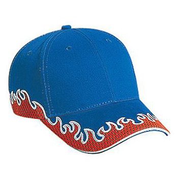 OTTO Flame Pattern Brushed Cotton Twill w/ Polyester Pro Mesh Sandwich Visor Six Panel Low Profile Baseball Cap