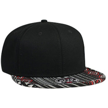 Otto Aztec Pattern Superior Cotton Twill Jacquard Flat Visor With Binding Trim Pro Style Snapback Caps